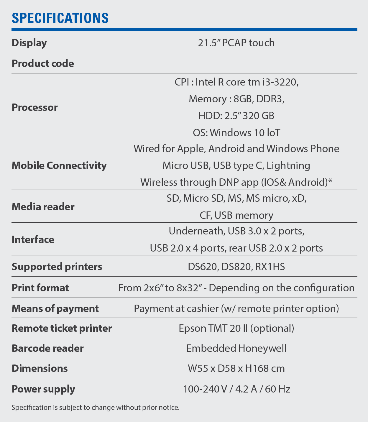dsk 30 specifications