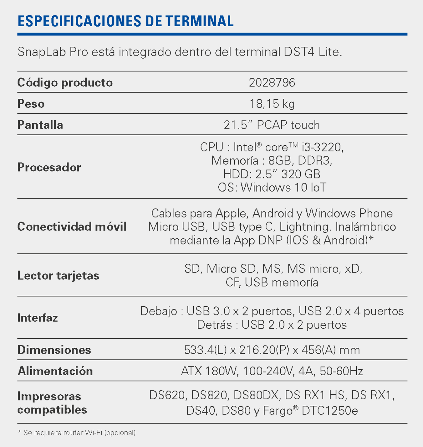 snaplab pro specifications ES