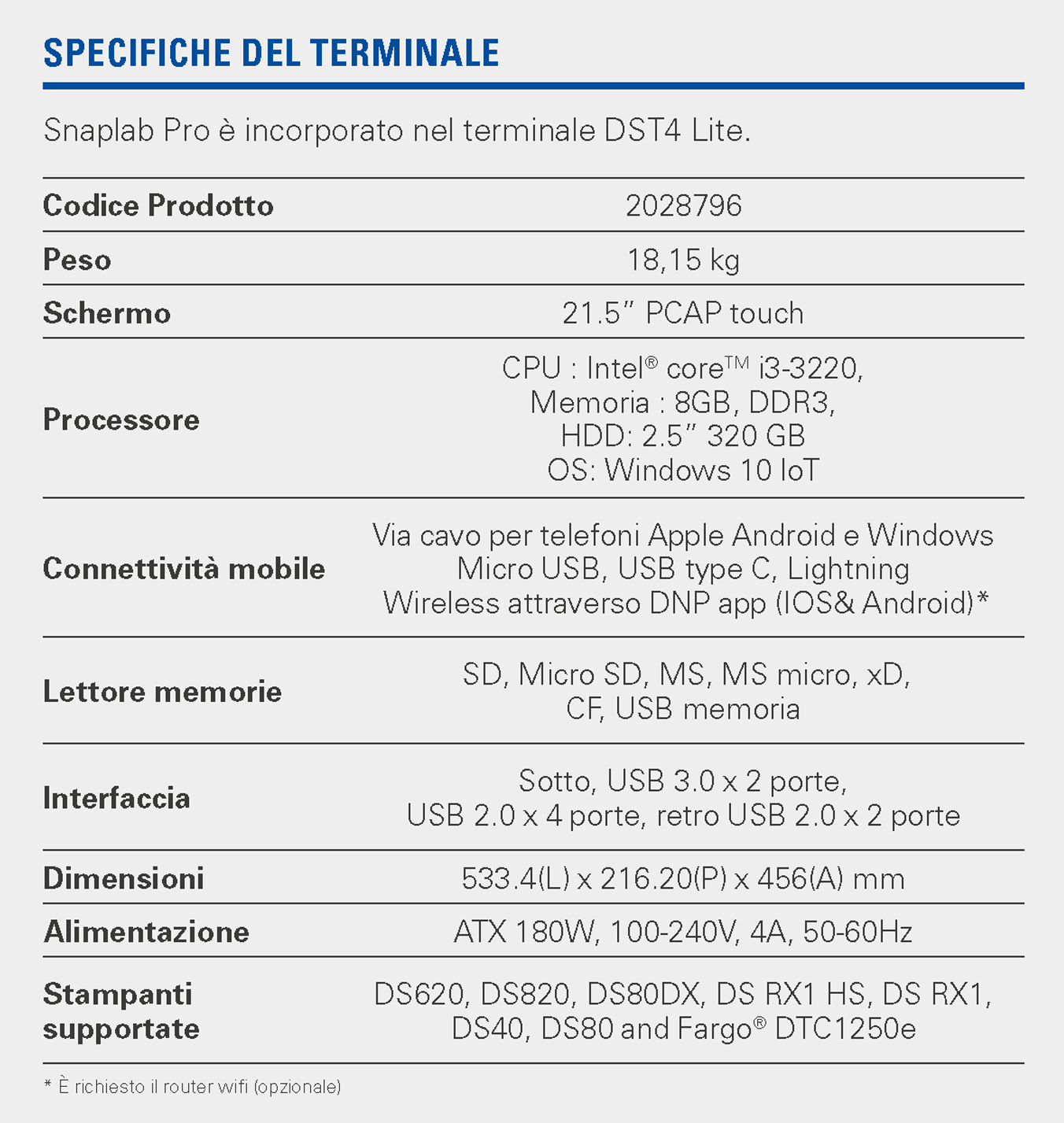 snaplab pro specifications IT