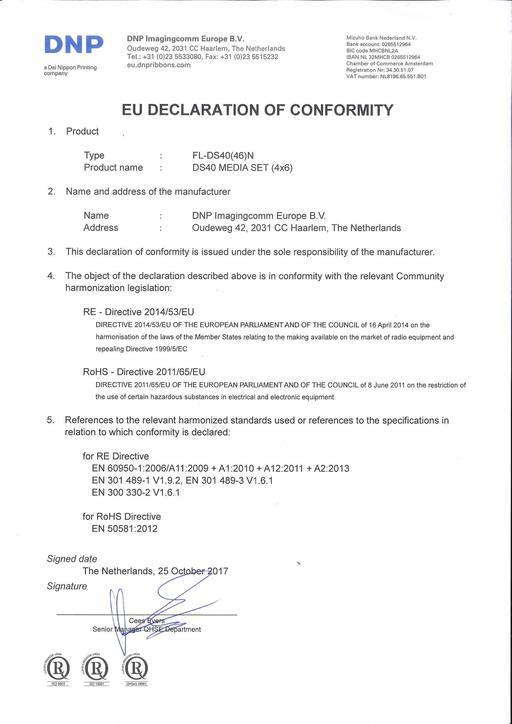 EU DoC for all DS40 media