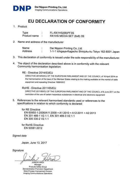 EU DoC for FL-RX1HS(68)PF3SN
